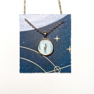 Light Blue Hand Painted Gold Bolt Necklace
